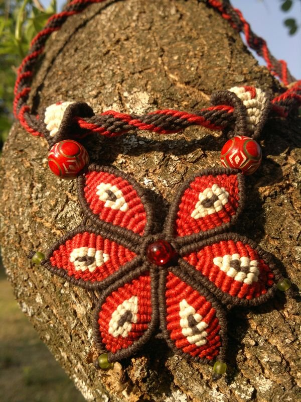 Chinese waxed cotton cord necklace imbali crafts
