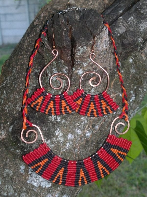 Chinese wax cord necklace imbali crafts