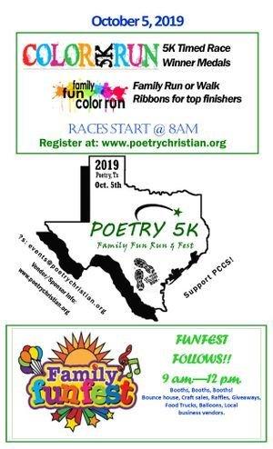 Amy Lane Jams Fall Basket Donation to Poetry 5K Family Fun Run & Fest