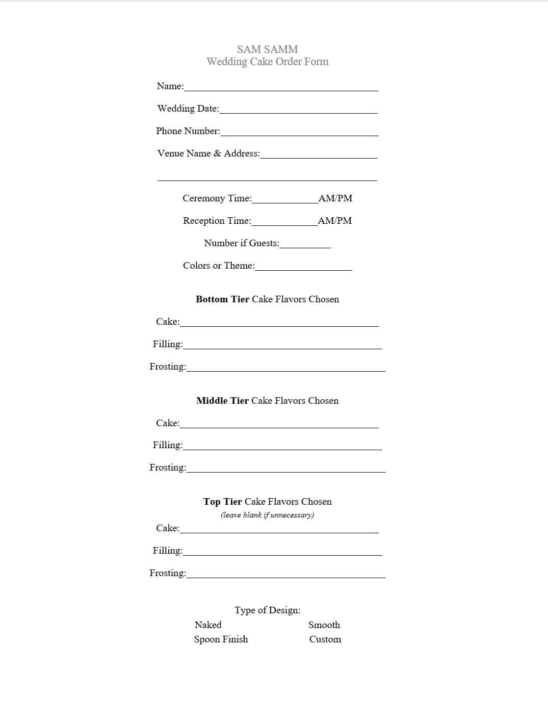 order form for cakes  Wedding Cake Order Form - Sam Samm Custom Cakes