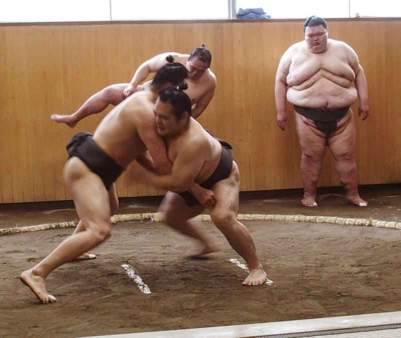 Two Sumo Grappling While a Grand National Champion Looks On