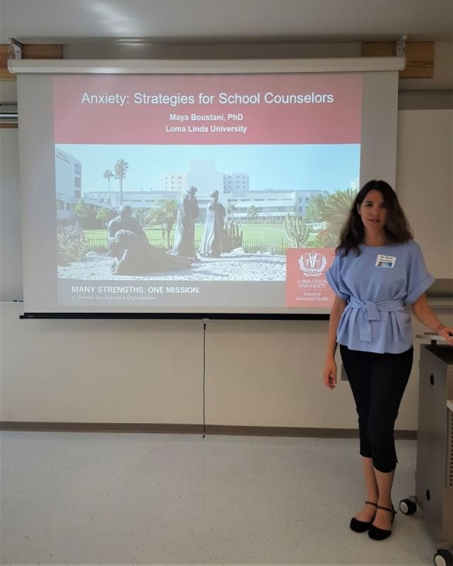 Maya talks to school counselors about strategies to manage anxiety at the SBCUSD School Counseling Collaborative
