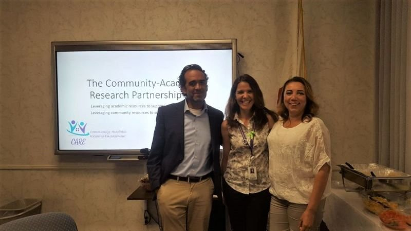 Juan Carlos Belliard, Maya Boustani, and Yesenia Ceballos after a talk about community collaboration at the Institute for Community Partnership at Loma Linda University