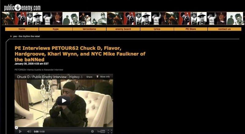 Chuck D & Public Enemy Interviews at PE website.