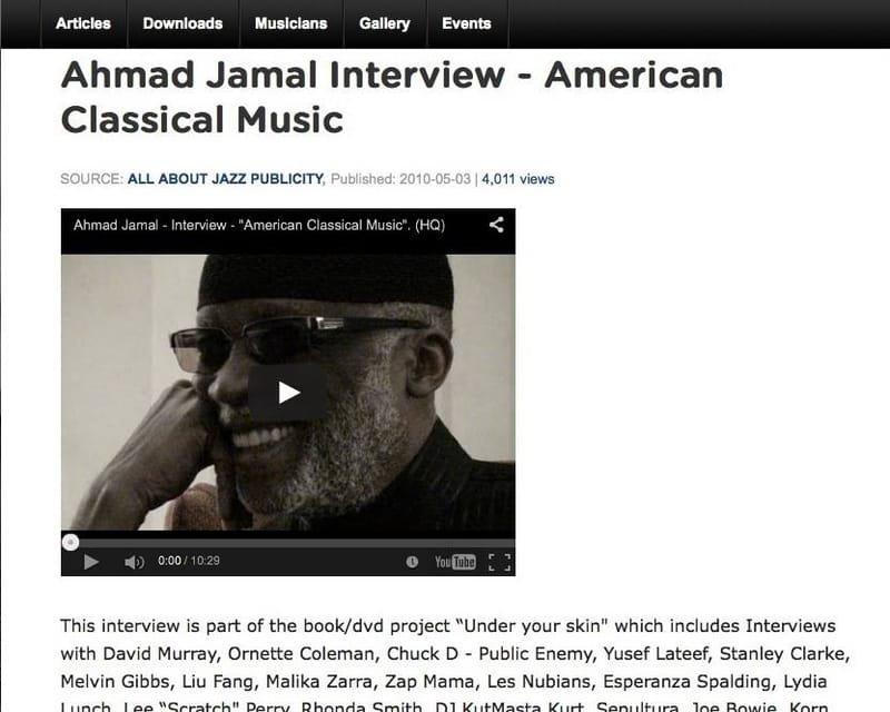 Ahmad Jamal Interview at allaboutjazz.com