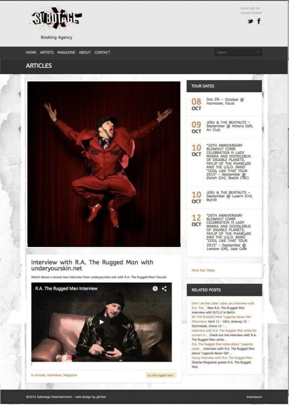 R.A. The Rugged Man Official Page interview at Subotage page.
