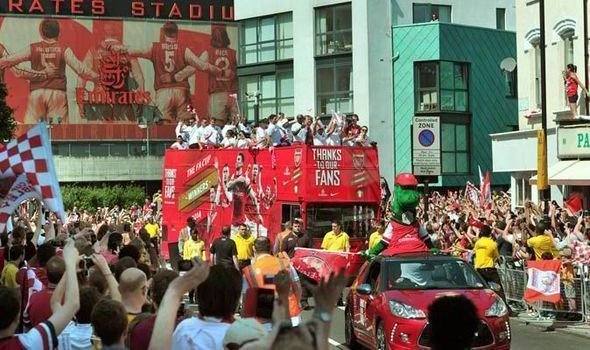 Arsenal Players on Open Top Bus