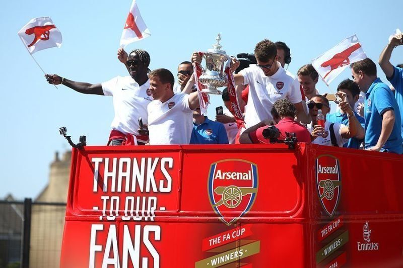 Open Top Bus on Arsenal FA Cup Parade