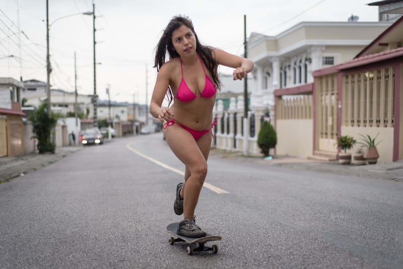 skating and bikini