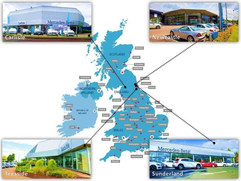 Maps of Dealership Locations - Sytner Mercedes-Benz BDC Cloud