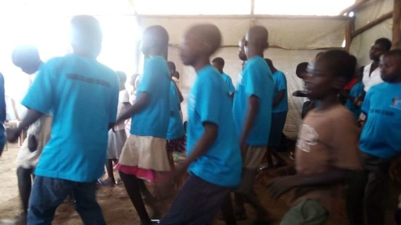 I CAN children singing at Chrisco Church at Bidibidi Refugee Camp