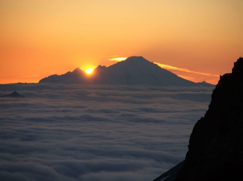 Sunset over Mount Baker from the Ptarmigan Traverse