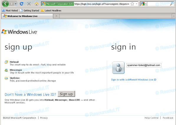 Hotmail login screen
