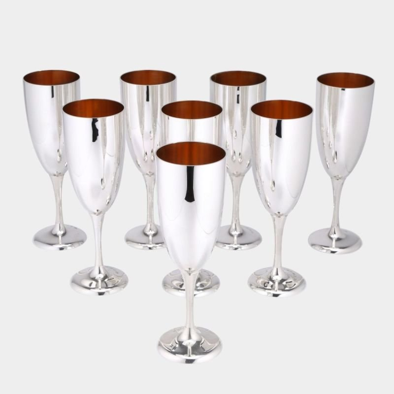 Gilt lined silver champagne flutes