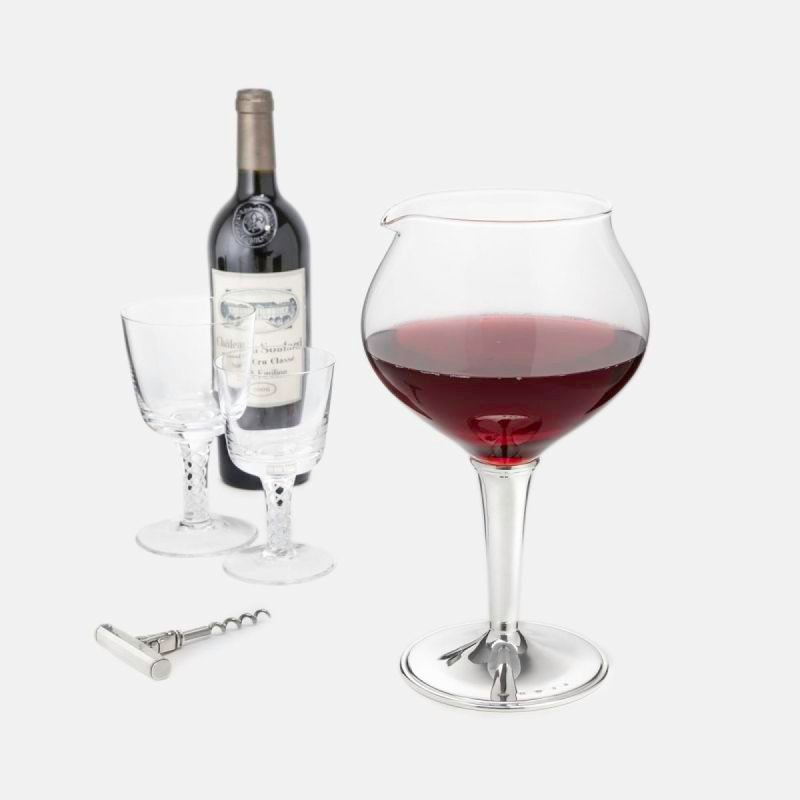 Silver & glass balloon wine decanter - exclusive to Langfords
