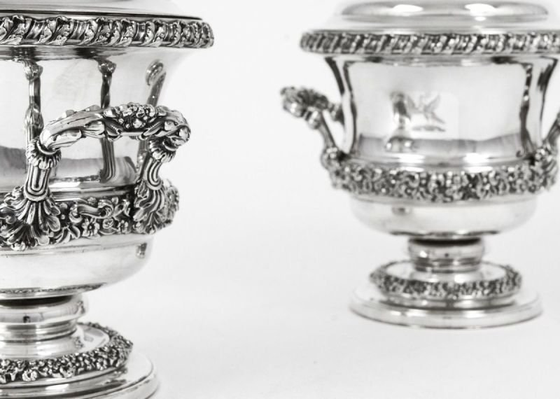 Pair of antique silver wine or champagne coolers