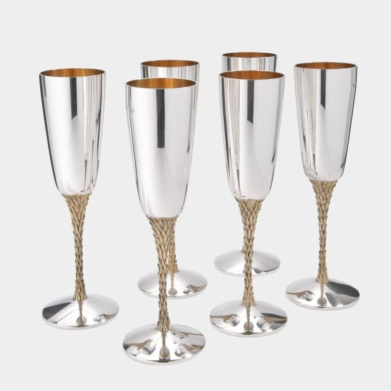 Set of six mid-century silver champagne flutes