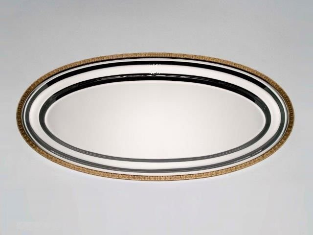 Oval silver platter with gilded decoration