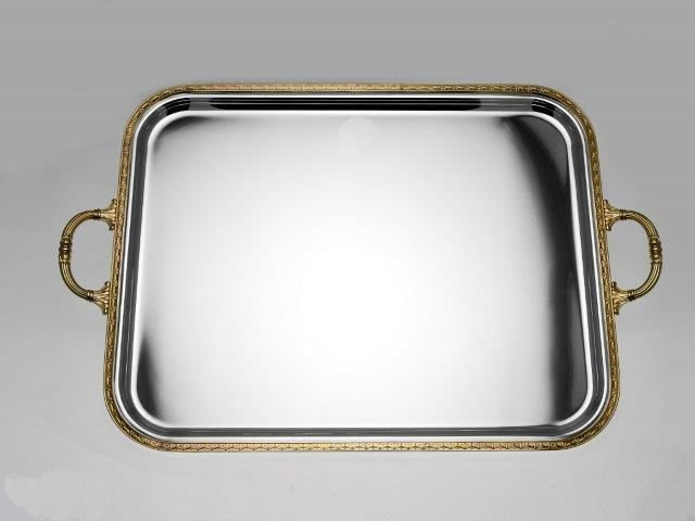 Silver serving tray - gilded decoration