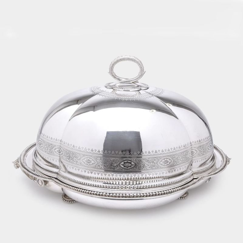 Antique silver tree & well meat dish