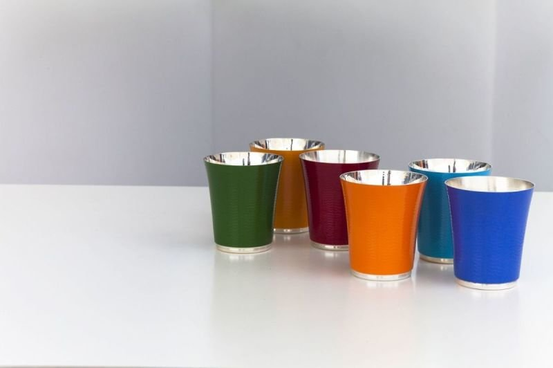 Contemporary silver & enamel beakers