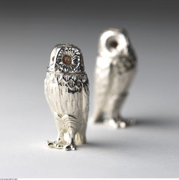 Silver owl pepper pots