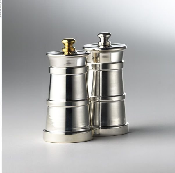 Silver churn salt & pepper grinders