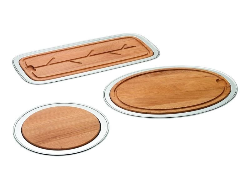 Silver & wood serving platters