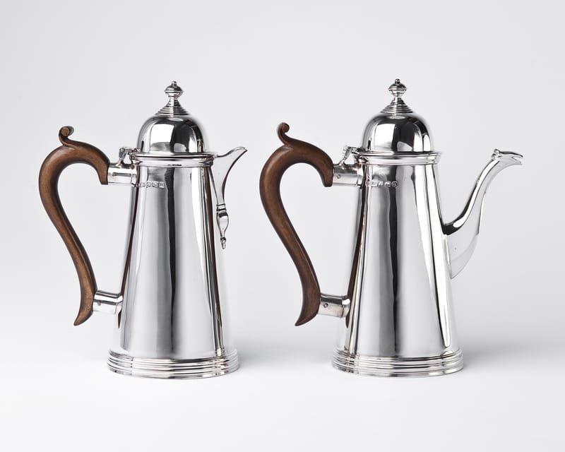 Silver café au lait pots