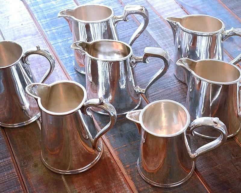 Silver plated cream & milk jugs