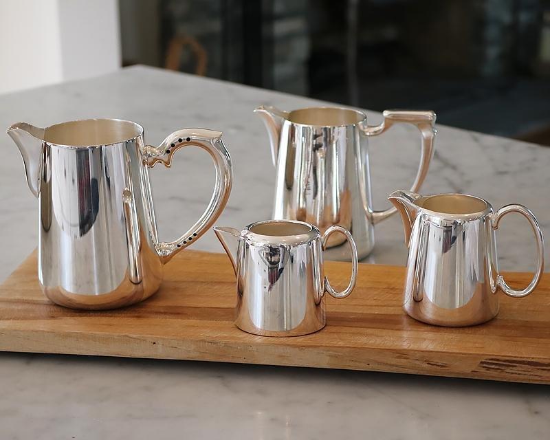 Silver-plated milk & cream jugs