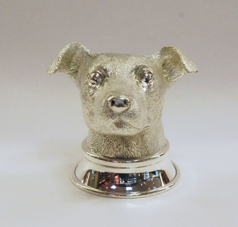 Silver Jack Russell stirrup cup