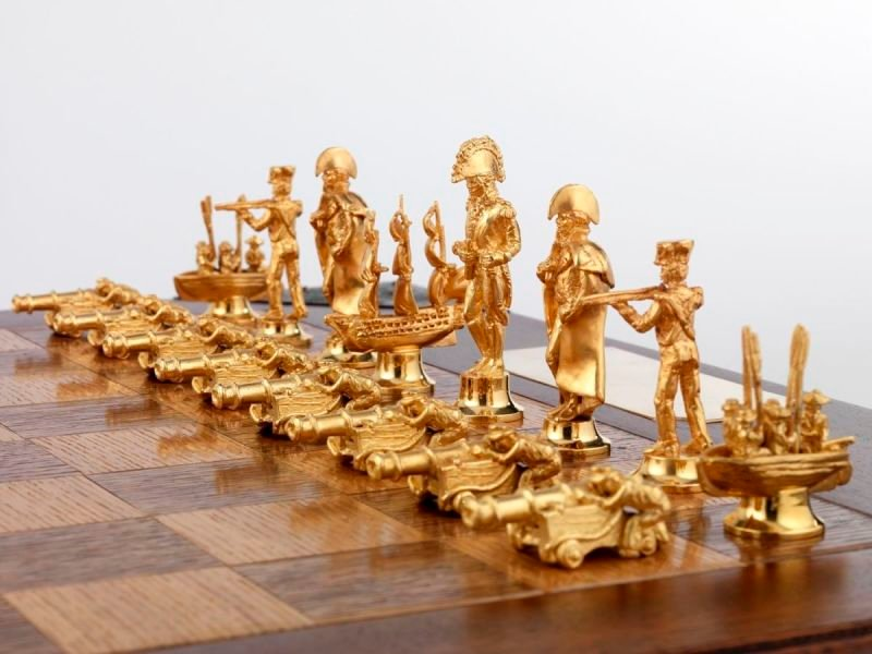 Trafalgar silver & gilt chess set