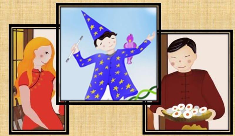 Octavio, el veterinario, Clara, la mujer policia y el Señor Wu, el empresario chino