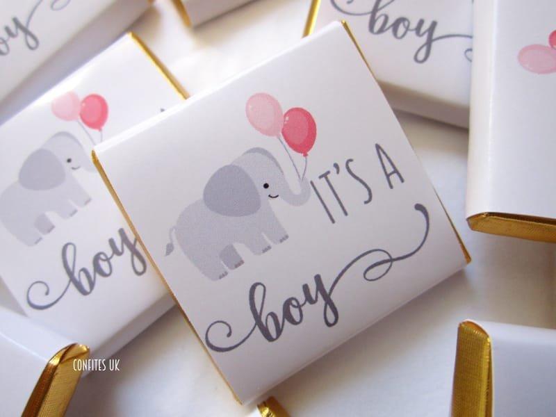 Personalised Chocolates Squares Boy Baby Shower Cute Elephant