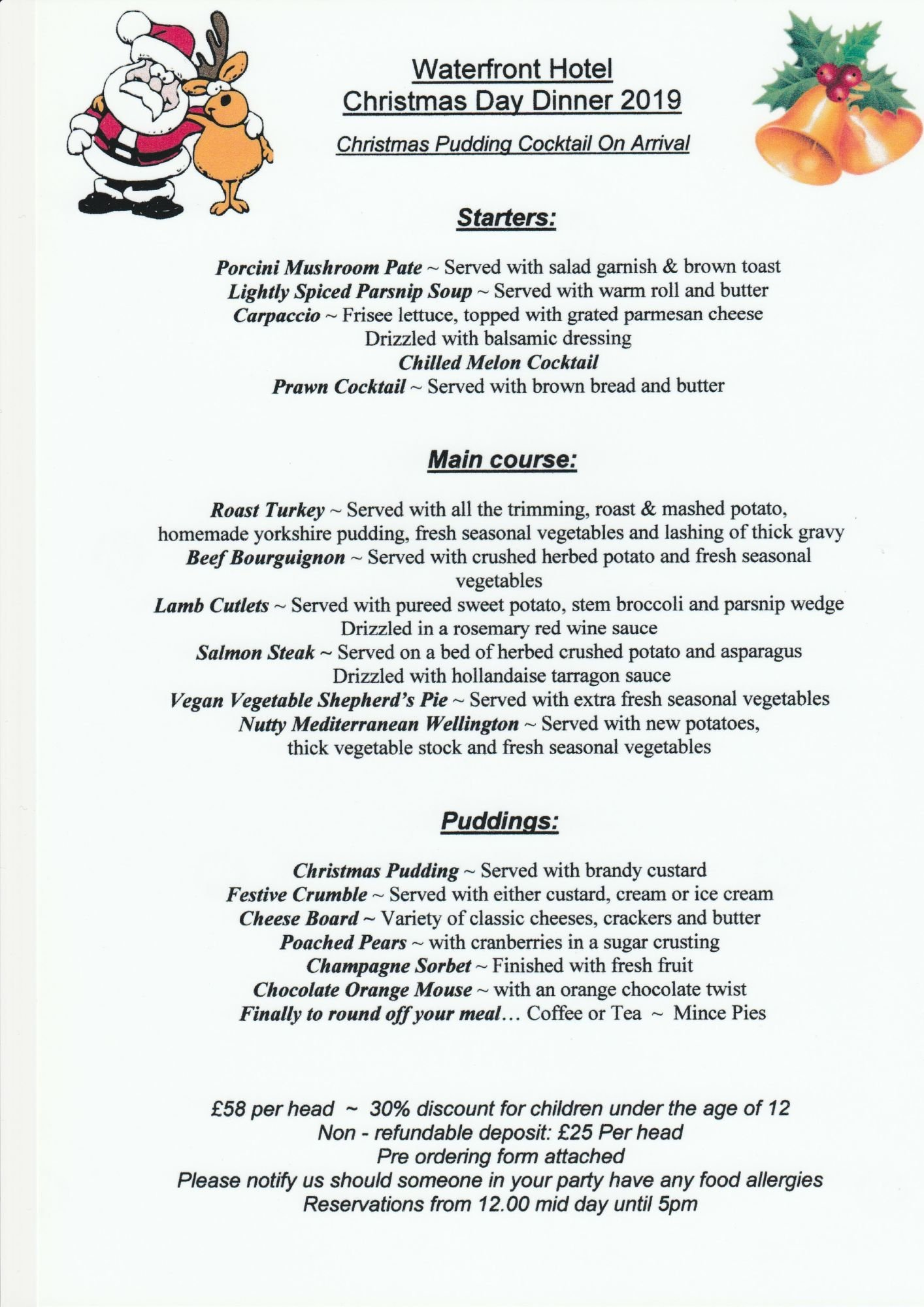 Christmas Day 2019.Christmas Day Menu 2019 Fully Booked Waterfront Hotel