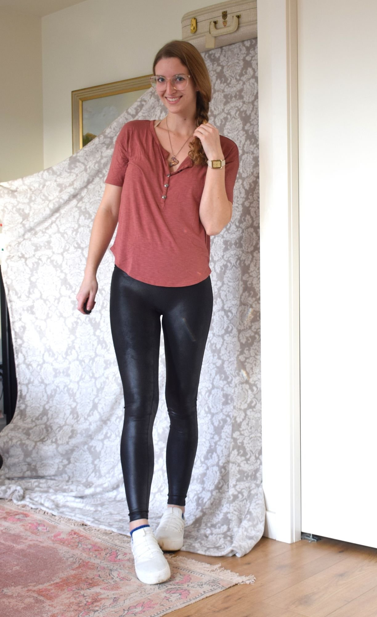 5bfc96c1e35d7a (which are a couple of years old from Fabletics-- Sorry guys, I just love  these shoes,) This is my cozy-casual look. I'd wear this at home, ...