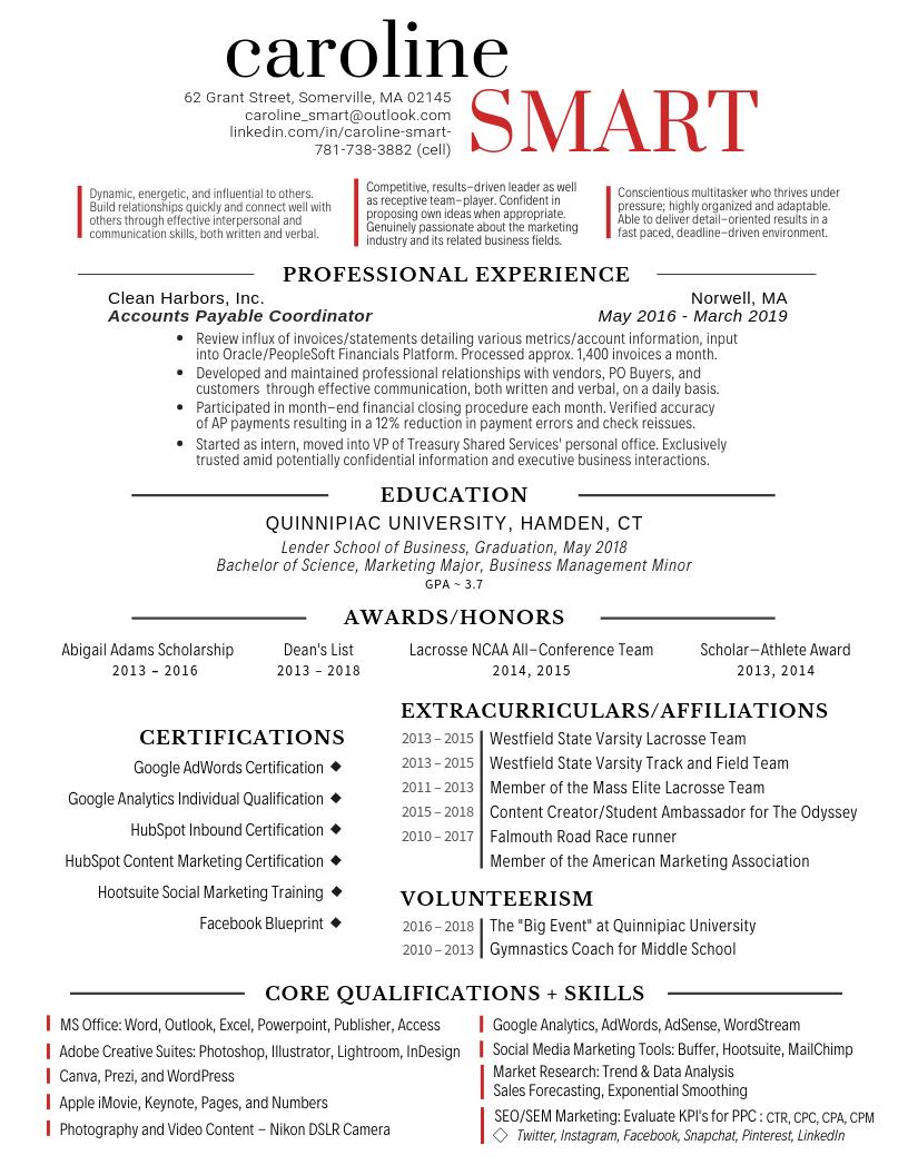 Résumé - Caroline Smart - Portfolio