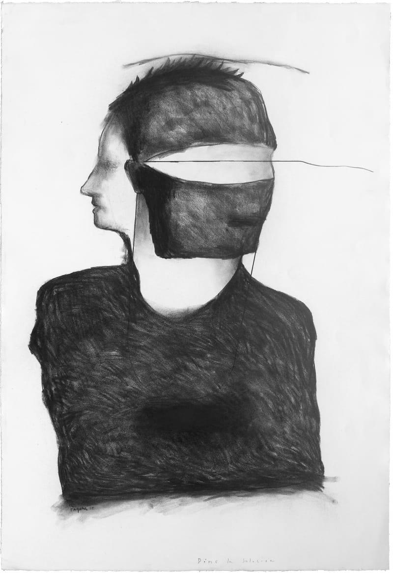 """""""DIME LA SOLUCION"""" . 2015 . 44.5"""" x 30"""" . Charcoal on Paper"""