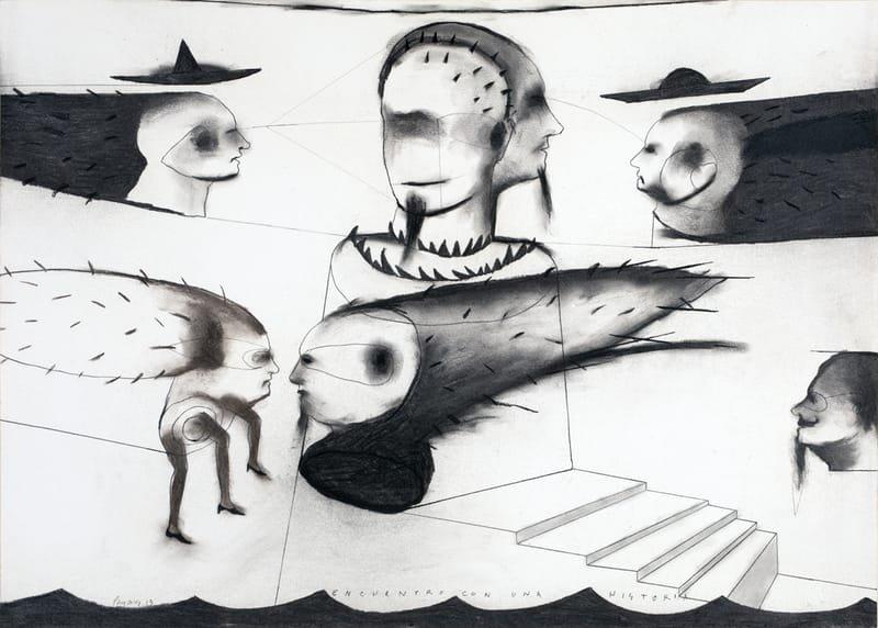 """""""ENCUENTRO CON UNA HISTORIA"""" . 2013 . 19"""" x 27"""" . Charcoal on Paper"""