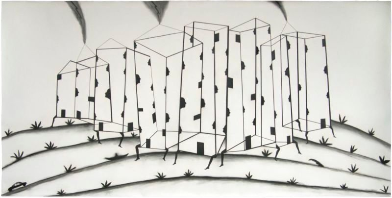 """CIUDAD LIMPIA"" . 2012 . 46"" x 94"" . Charcoal on Paper"