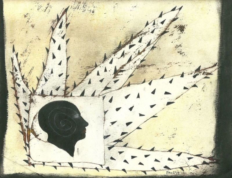 """PROTECCION"" . 2012 . 19"" x 25"" . Oil, Graphite on Paper"
