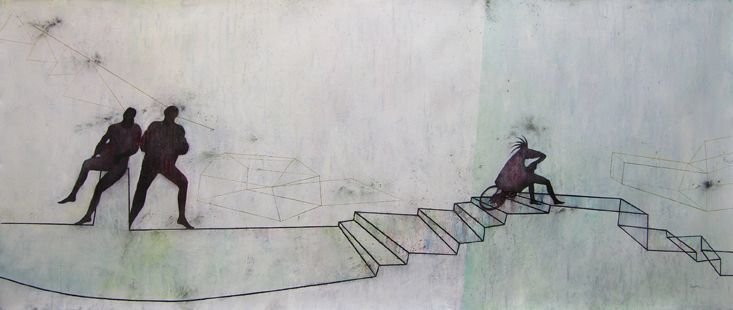 """YOU'LL WAIT FOR ME"" . 2011 . 32"" x 78"" . Oil, Mixed Media on Canvas"