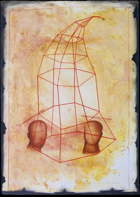"""QUE NOS VEAN DE LEJOS"" . 2011 . 41.5"" x 30"" . Mixed Media on paper"