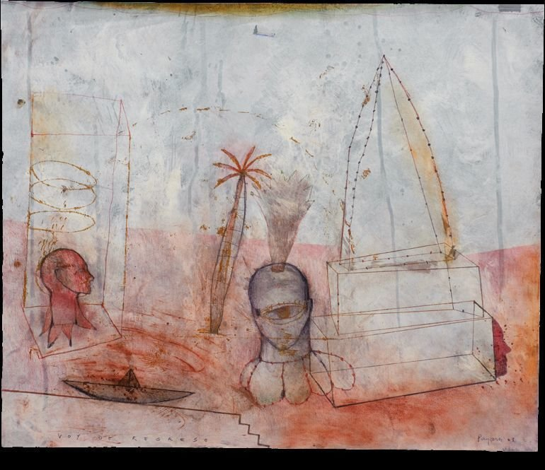 """VOY DE REGRESO"" . 2008 . 19.5"" x 23.5"" . Mixed Media on Paper"