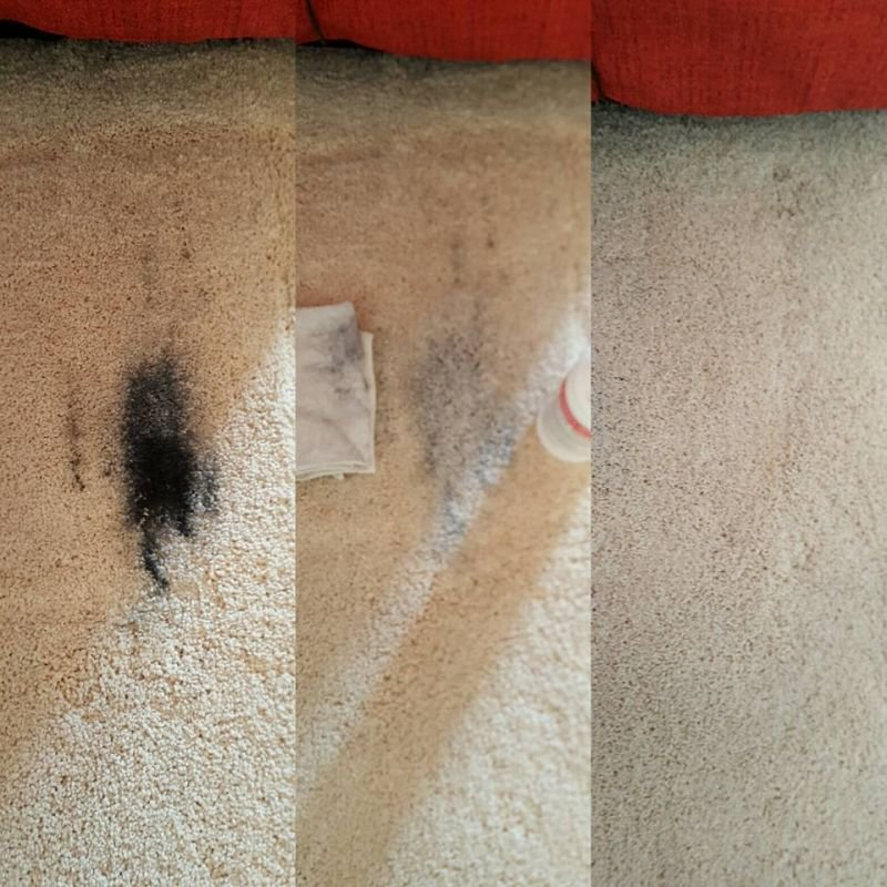 Soot stain from electric chair recliner removed