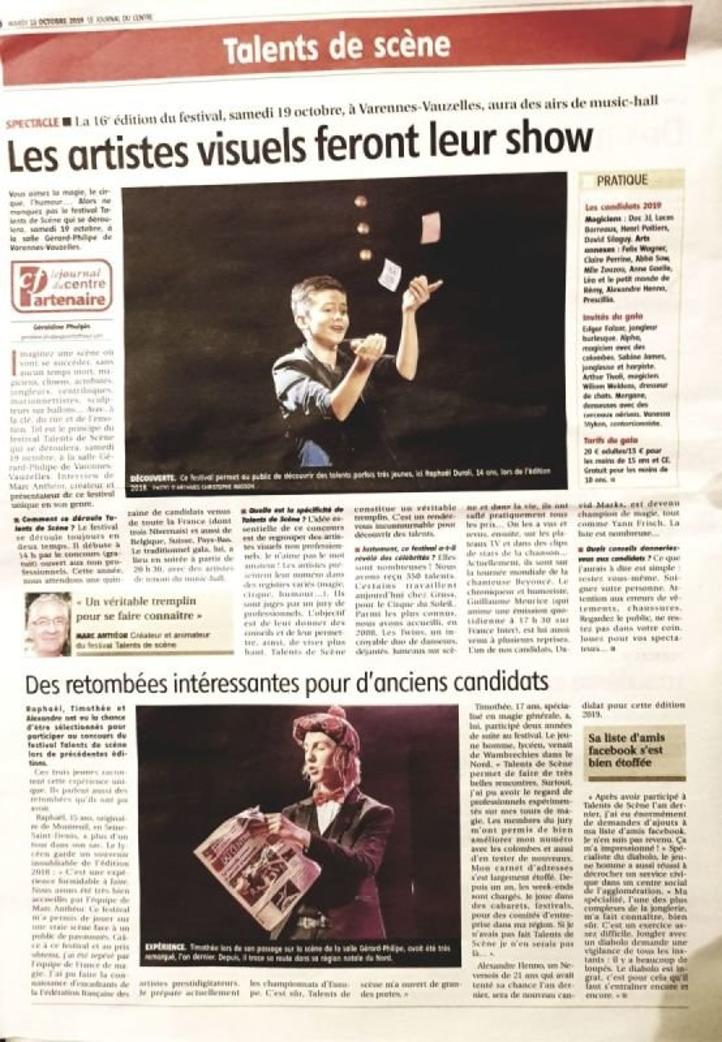 Page Journal du centre le 15 octobre