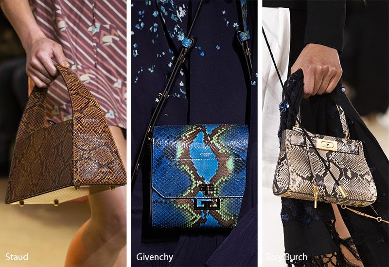 Tendances automne / hiver 2019-2020 pour les sacs à main: sacs / sacs à main en peau de serpent
