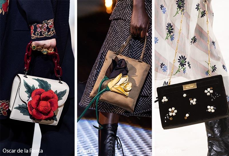 Tendances automne / hiver 2019-2020 pour les sacs à main: Sacs / bourses décorés de fleurs 3D