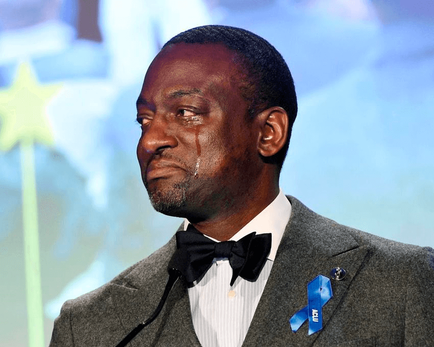 Honoree Yusef Salaam becomes emotional as he addresses the audience at the ACLU SoCal's 25th Annual Luncheon at the JW Marriott at LA Live, Friday, June 7, 2019, in Los Angeles. (Photo by Chris Pizzello/
